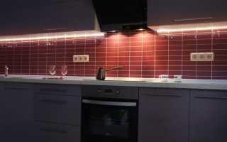 Светодиодная подсветка для рабочей зоны кухни: преимущества ленты и ее расположение