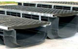 Пластиковый водоотводный лоток с решеткой: область применения, устройство, размеры и цены