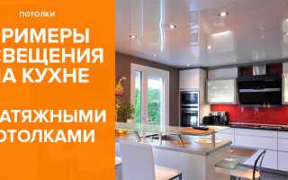 Освещение на кухне с натяжным потолком: правильный выбор осветительных приборов